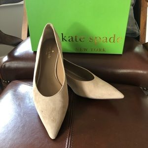 "Kate Spade ""Dale"" tan kid suede kitten heel"